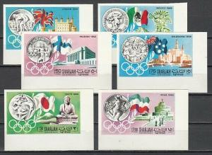 Sharjah, Mi cat. 496-501 B. History of Olympics, IMPERF issue.