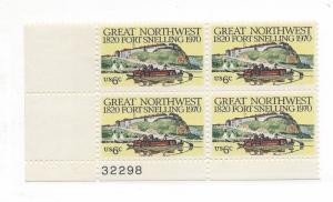United States, 1409, Fort Snelling Plate Block of 4, #32298, LL, MNH