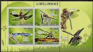 St Thomas & Prince Islands 2009 Dragonflies perf sheetlet...