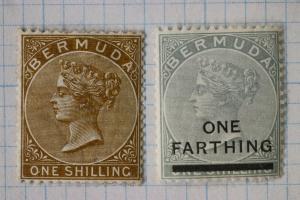 Bermuda sc#25 26 Mint MH OG 1/ sh shilling one Farthing surcharged overprint