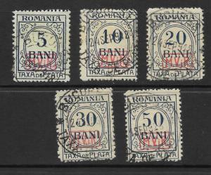 Romania Scott 3NJ3 - 3NJ7 Used short set occupation dues stamps 2017 CV $29.25