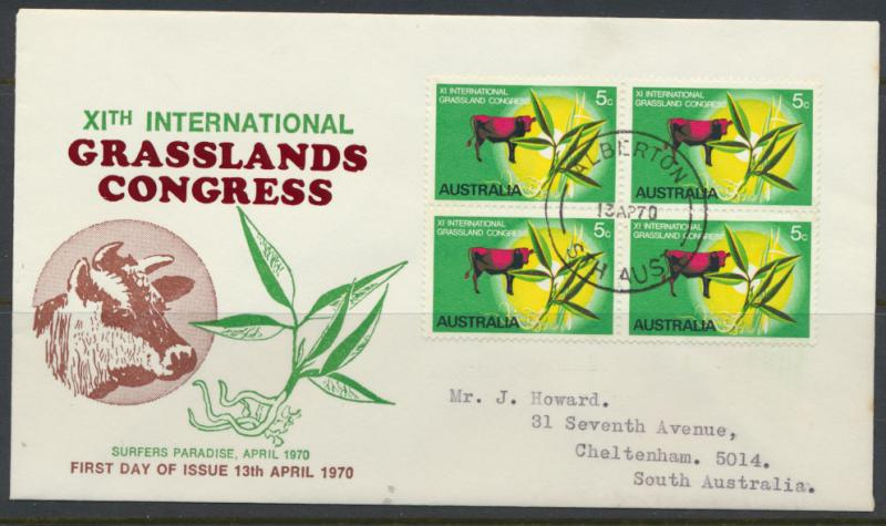 Australia SG 458 block of 4 on Special Issue FDC - Grasslands Congress