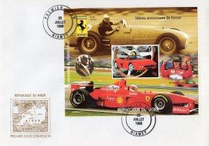 Niger 1998 YT#107 Michael Schumacher/50th.Ann.Ferrari S/S Perforated FDC