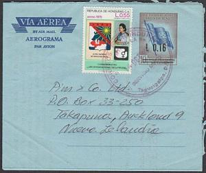 HONDURAS 1997 L0.16 opt on airletter uprated used to New Zealand...........55435