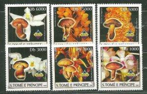 St. Thomas & Prince Islands MNH 1493A-F Mushrooms & Orchids SCV 9.00