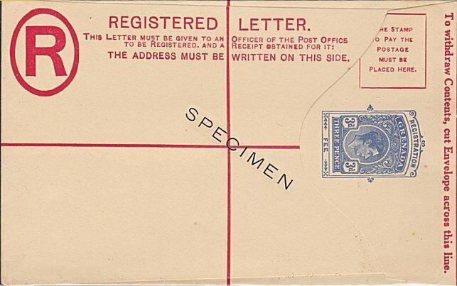 GRENADA GVI 3d registered envelope oveprinted SPECIMEN - scarce............54759