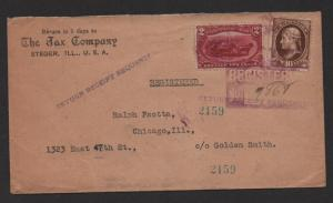 US 20th Century adv. cover Jax Company, Steger Ill. Registered late use of stamp