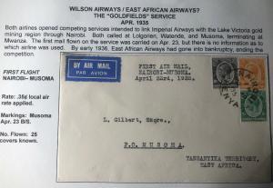 1935 Nairobi Kenya British KUT First Flight Cover FFC To Musoma Tanganyika