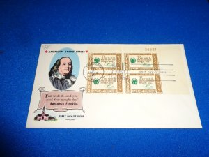 FLEUGEL MULTI COLORED CACHET FDC:  US SCOTT# 1140 PLATE BLOCK OF 4