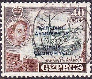 CYPRUS 1960 QEII 40m Deep-Green & Sepia SG197 Fine Used