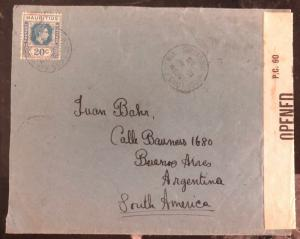 1943 Port Louis Mauritius Censored Cover To Buenos Aires Argentina