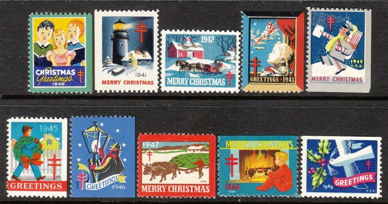 SALE Stamp Label US Christmas Seal 1940-9 TB Greetings Holiday Selection MNH