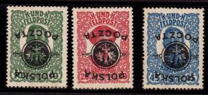 $Poland Sc#27a-29a M/NH/VF, inverted Overprints error! Cv. $180