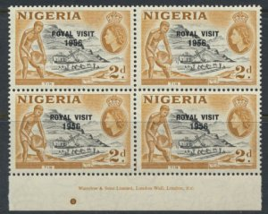 Nigeria  SG 81 SC# 92 Used  QEII Royal Visit 1956  Block of 4 MNH   please se...