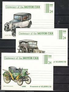 Ireland, 1986 issue. Cent`ry of the Motor Car. 3 Postal Cards.