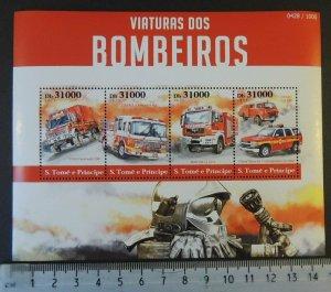St Thomas 2015 fire engines trucks tenders m/sheet mnh