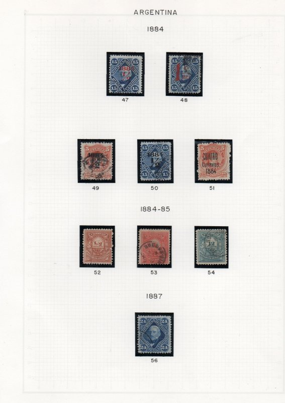 Argentina, 1867/1897 collection on 9 album pages, very fine used.