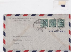 iceland to canada 1947  stamps cover  Ref 8547