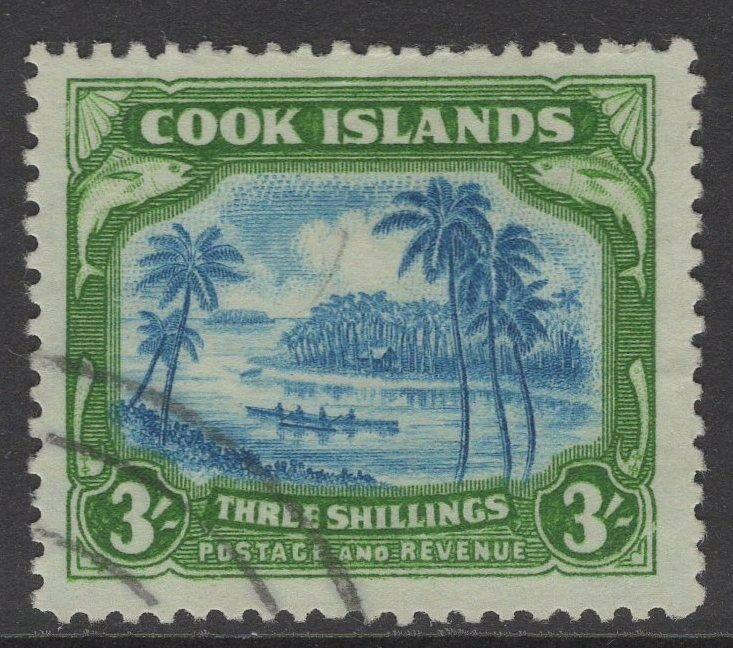 COOK ISLANDS SG145(CW17a) 1945 3/= GREENISH BLUE & GREEN CENTRE DOUBLED F.USED