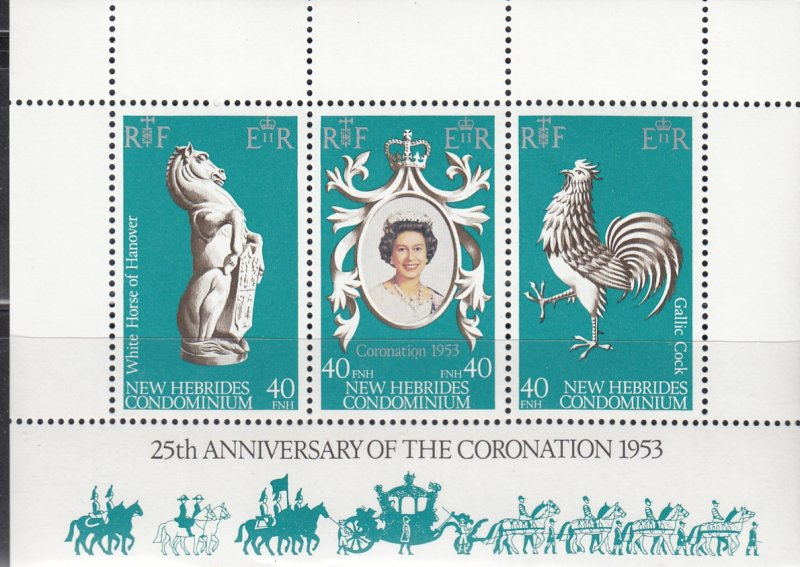 New Hebrides MNH 258a-c 25th Anniversary Of Coronation Of QE II 1978