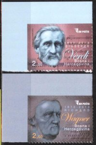 Bosnia 2013 Famous People Music Composers G. Verdi R. Wagner set of 2 MNH