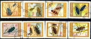 8 Different Insects, Vietnam stamp SC#876-883 used set