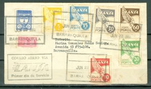 COLOMBIA 1950 LANSA FIRST DAY of SERVICE COVER..VERY NICE