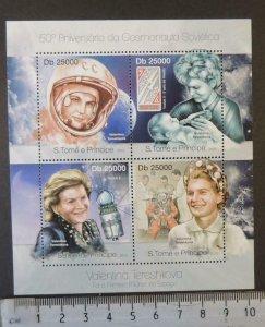 St Thomas 2013 space russia valentina tereshkova children women m/sheet mnh