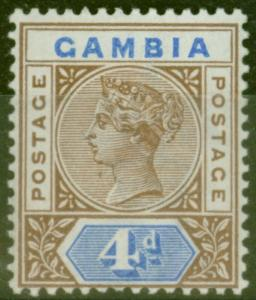Gambia 1898 4d Brown & Blue SG42 Fine Very Lightly Mtd Mint