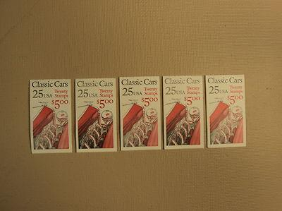 USPS Scott 2381-85 25c Classic Cars 5 Books 100 Stamps 20...