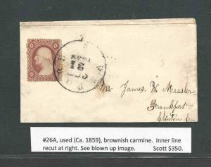 #26A USED (Ca1859) BROWNISH CARMINE INNER LINE RECUT ST RIGHT SEE BLOWN UP IMAGE