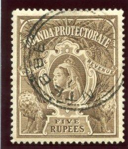 Uganda 1898 QV 5r brown very fine used. SG 91. Sc 76.