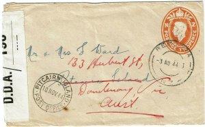 Pitcairn Island 1944 cover from New Zealand, forwarded Australia, local censor