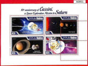 A0951 - MALDIVES - ERROR  MISPERF SHEET - 2014 SPACE ASTRO КОСМОС СПУТНИК