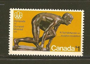 Canada 656 Montreal Olympics 1976 Sprinter $1.00 Issue MNH