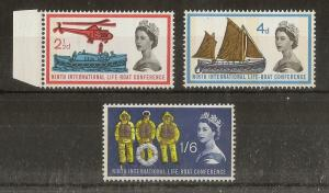 GB 1963 Lifeboat Phosphor Set SG639-641p MNH Cat£48