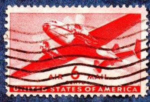 US Scott #C25 6c Transport Plane (1941) Used