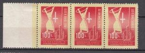 Z2312 1949 yugoslavia-trieste set mh 2 mnh signed #3a strip sports $95.00 scv