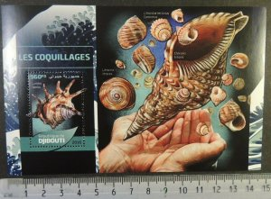 Djibouti 2016 shells marine life s/sheet mnh
