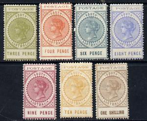 South Australia 1902-04 Thin Postage set of 7 values to 1...