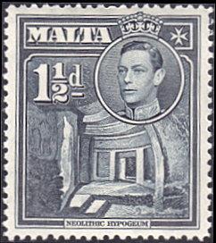 Malta # 194A mnh ~ 1½p Neolithic Ruins, dark gray