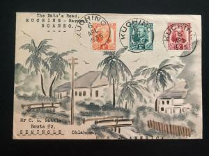 1937 Datu Road Kuching Sarawak Karl Lewis Cover To Seminole OK USA