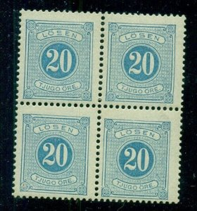 SWEDEN #J17, 20ore Block of 4, og, NH, very minor perf tone, VF, Facit $60.00+