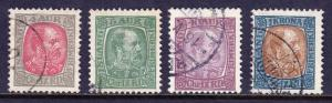 ICELAND — SCOTT 35,36,42,44 — 1902 KING CHRISTIAN IX ISSUE — USED — SCV $23.75