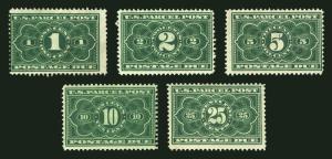 #JQ1-JQ5 1c-25c Dark Green Parcel Post Due1913 MLH NICE