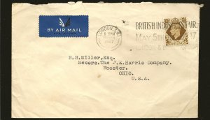 Great Britain 248 on Postmarked 1947 Airmail Cover Used