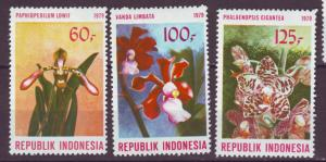 J21090 Jlstamps 1979 indonesia mh set #1045-7 orchids flowers