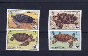 Anguilla, 537-40, Turtles (WWF), Singles **MNH**