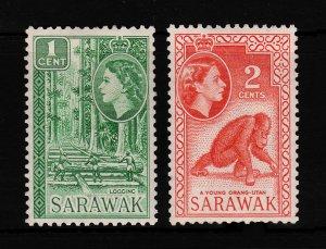 Sarawak Sc#197-198 QE II  1C & 2C F-VF MNH