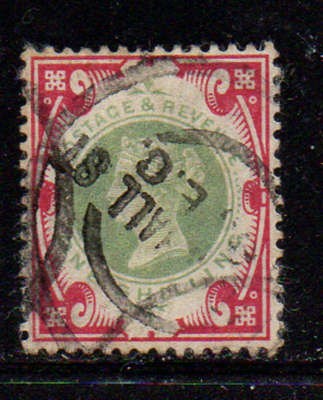 Great Britain Sc 126 1900 1/ carmine rose & green Victoria stamp used